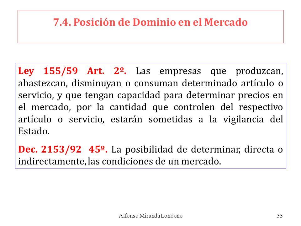 Alfonso Miranda Londoño53 7.4. Posición de Dominio en el Mercado Ley 155/59 Art. 2º. Las empresas que produzcan, abastezcan, disminuyan o consuman det