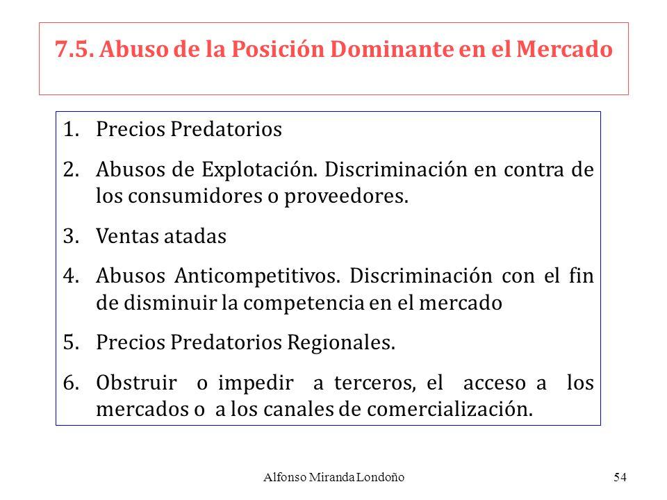 Alfonso Miranda Londoño54 7.5. Abuso de la Posición Dominante en el Mercado 1.Precios Predatorios 2.Abusos de Explotación. Discriminación en contra de