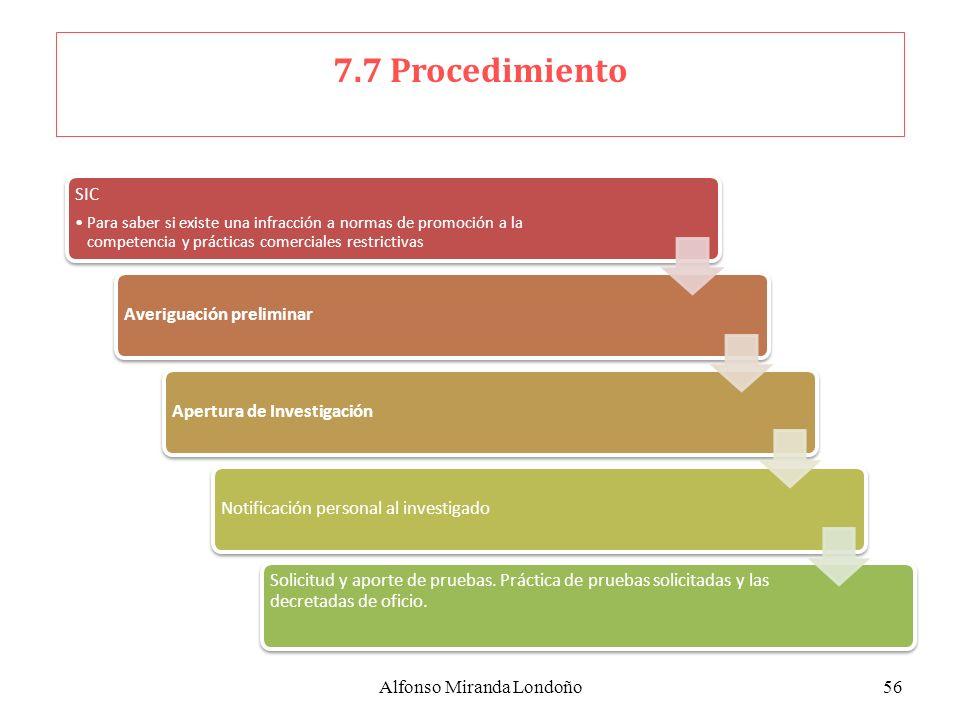 Alfonso Miranda Londoño56 7.7 Procedimiento SIC Para saber si existe una infracción a normas de promoción a la competencia y prácticas comerciales res