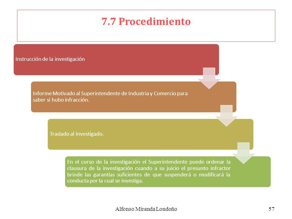 Alfonso Miranda Londoño57 Instrucción de la investigación Informe Motivado al Superintendente de Industria y Comercio para saber si hubo infracción. T