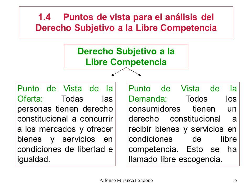 Alfonso Miranda Londoño6 1.4Puntos de vista para el análisis del Derecho Subjetivo a la Libre Competencia Punto de Vista de la Oferta: Todas las perso