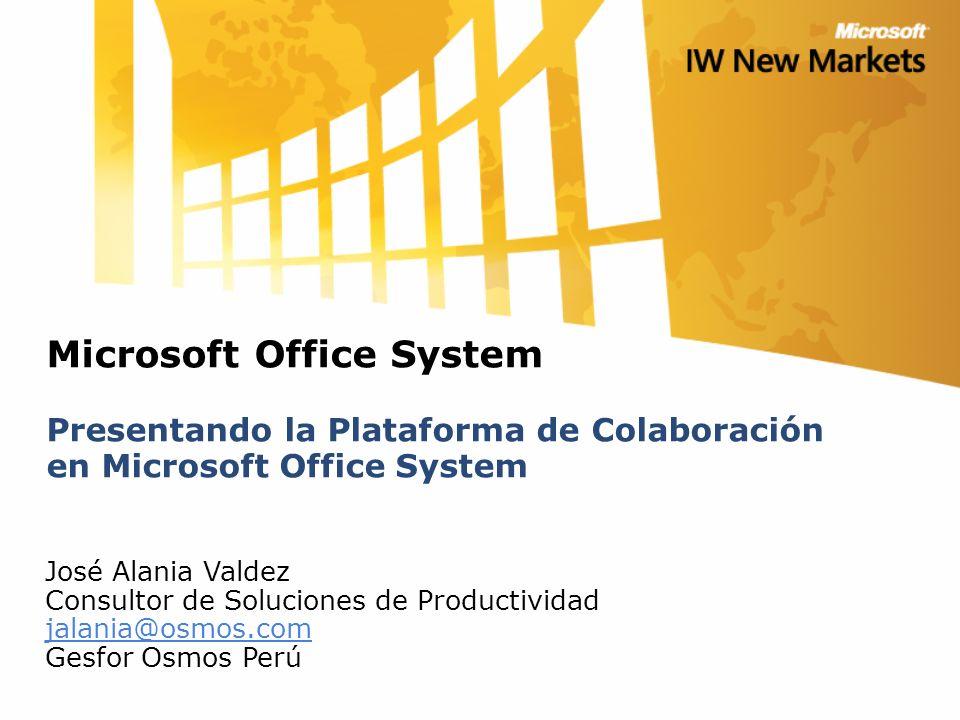 Microsoft Office System Presentando la Plataforma de Colaboración en Microsoft Office System José Alania Valdez Consultor de Soluciones de Productividad jalania@osmos.com Gesfor Osmos Perú