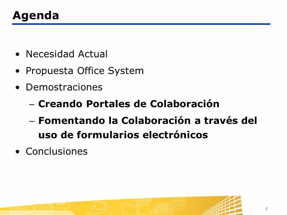 2 Agenda Necesidad Actual Propuesta Office System Demostraciones – Creando Portales de Colaboración – Fomentando la Colaboración a través del uso de formularios electrónicos Conclusiones