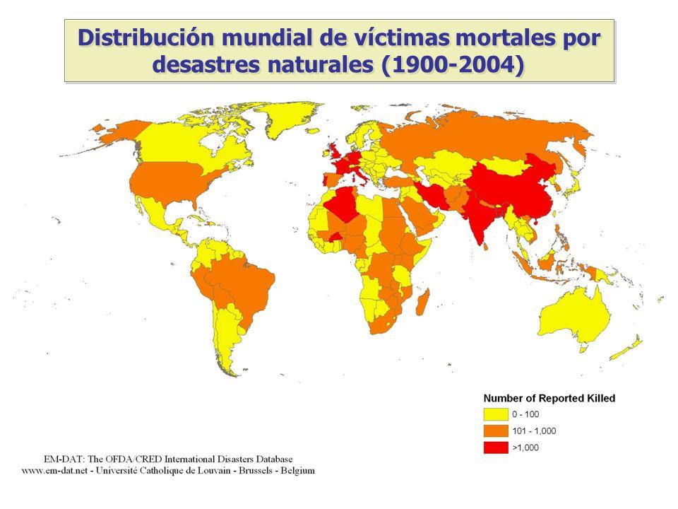 Distribución mundial de víctimas mortales por desastres naturales (1900-2004)