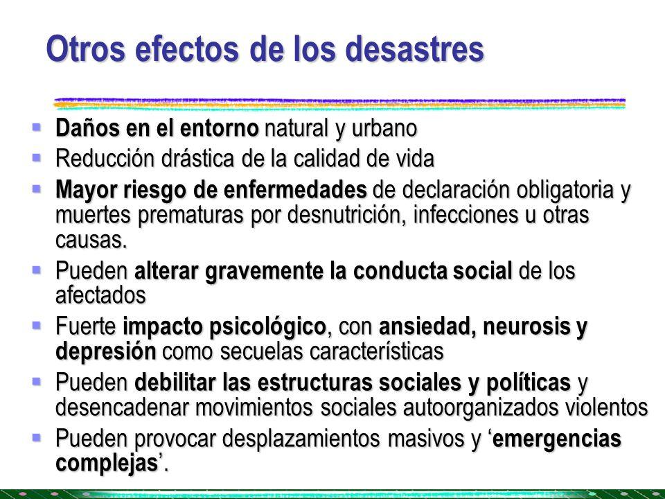Otros efectos de los desastres Daños en el entorno natural y urbano Daños en el entorno natural y urbano Reducción drástica de la calidad de vida Redu