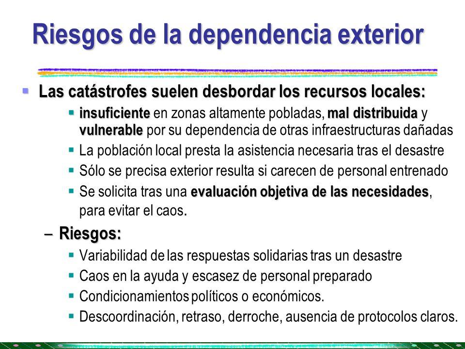 Riesgos de la dependencia exterior Las catástrofes suelen desbordar los recursos locales: Las catástrofes suelen desbordar los recursos locales: insuf