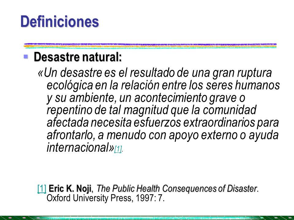 Definiciones Desastre natural: Desastre natural: «Un desastre es el resultado de una gran ruptura ecológica en la relación entre los seres humanos y s