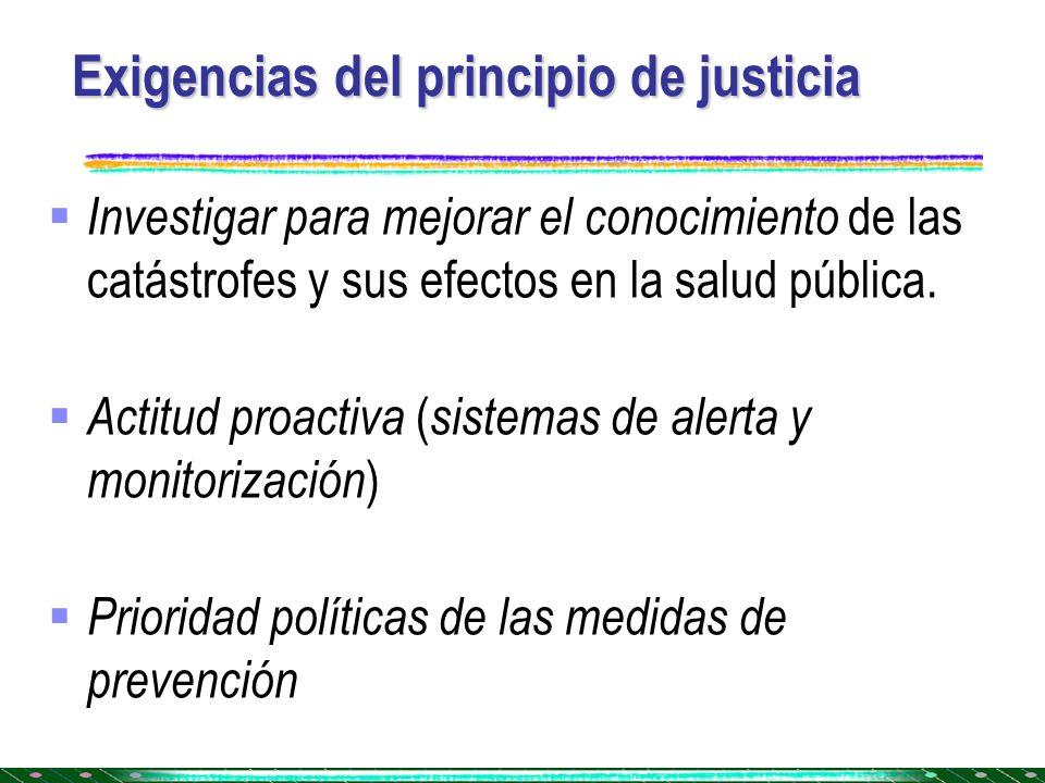 Exigencias del principio de justicia Investigar para mejorar el conocimiento de las catástrofes y sus efectos en la salud pública. Actitud proactiva (