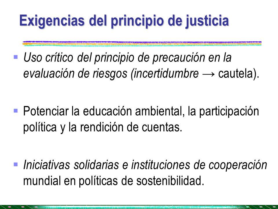 Exigencias del principio de justicia Uso crítico del principio de precaución en la evaluación de riesgos (incertidumbre cautela). Potenciar la educaci