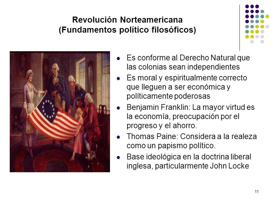 11 Revolución Norteamericana (Fundamentos político filosóficos) Es conforme al Derecho Natural que las colonias sean independientes Es moral y espirit