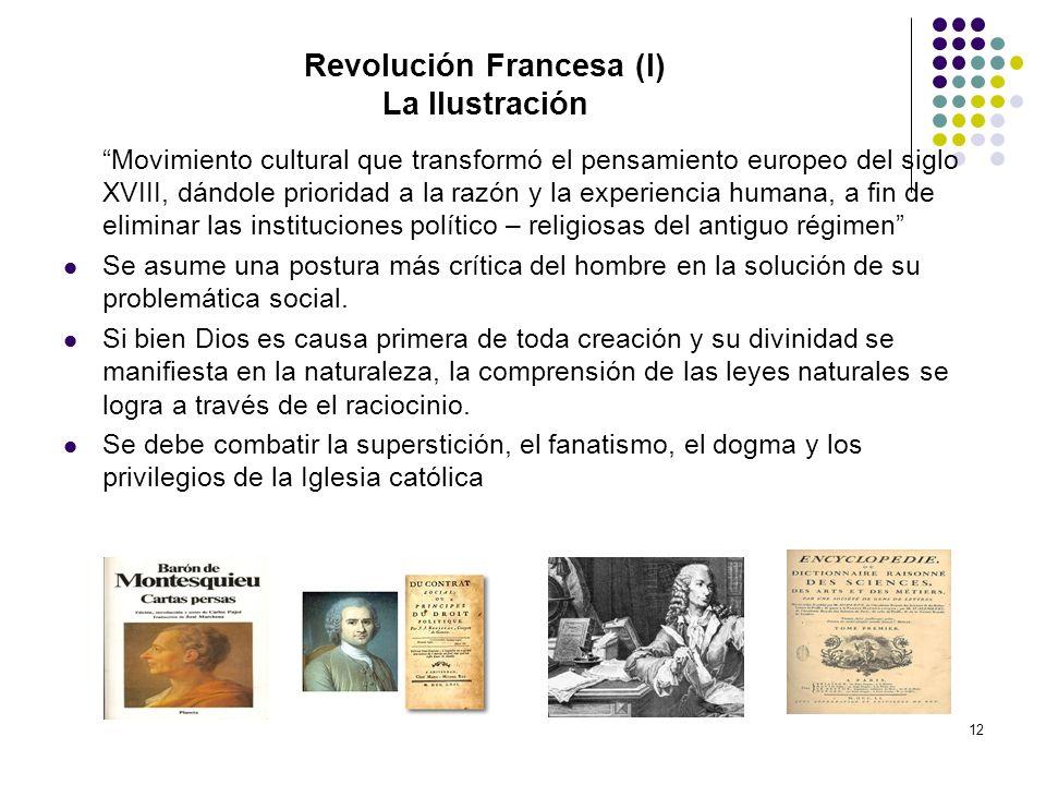 12 Revolución Francesa (I) La Ilustración Movimiento cultural que transformó el pensamiento europeo del siglo XVIII, dándole prioridad a la razón y la