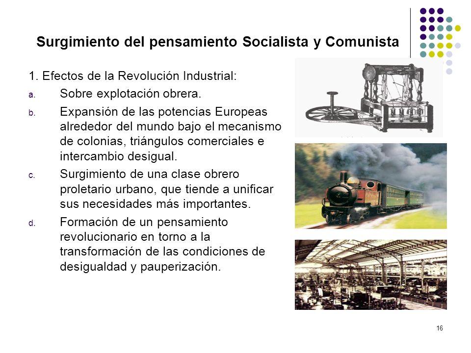 16 Surgimiento del pensamiento Socialista y Comunista 1. Efectos de la Revolución Industrial: a. Sobre explotación obrera. b. Expansión de las potenci