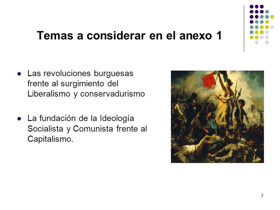 2 Temas a considerar en el anexo 1 Las revoluciones burguesas frente al surgimiento del Liberalismo y conservadurismo La fundación de la Ideología Soc