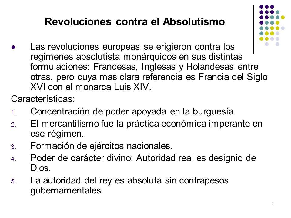 3 Revoluciones contra el Absolutismo Las revoluciones europeas se erigieron contra los regimenes absolutista monárquicos en sus distintas formulacione