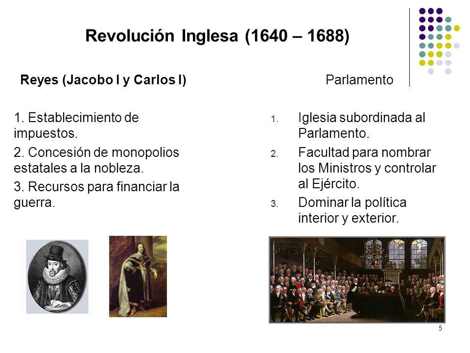 5 Revolución Inglesa (1640 – 1688) Reyes (Jacobo I y Carlos I) 1. Establecimiento de impuestos. 2. Concesión de monopolios estatales a la nobleza. 3.