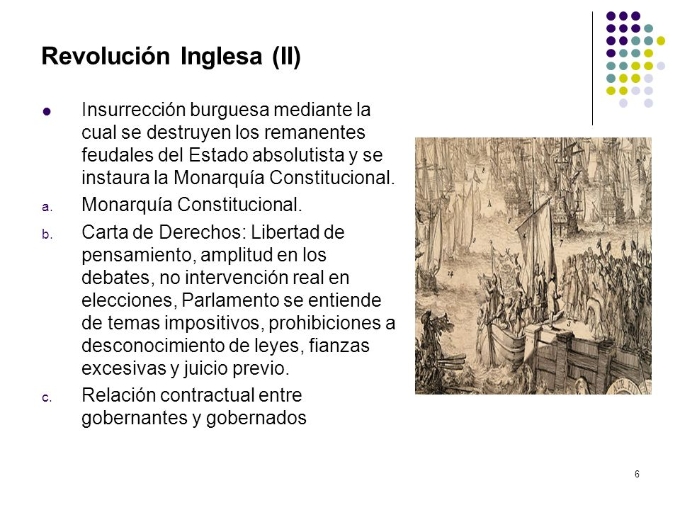 6 Revolución Inglesa (II) Insurrección burguesa mediante la cual se destruyen los remanentes feudales del Estado absolutista y se instaura la Monarquí
