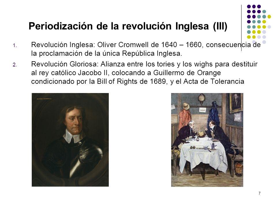 7 Periodización de la revolución Inglesa (III) 1. Revolución Inglesa: Oliver Cromwell de 1640 – 1660, consecuencia de la proclamación de la única Repú