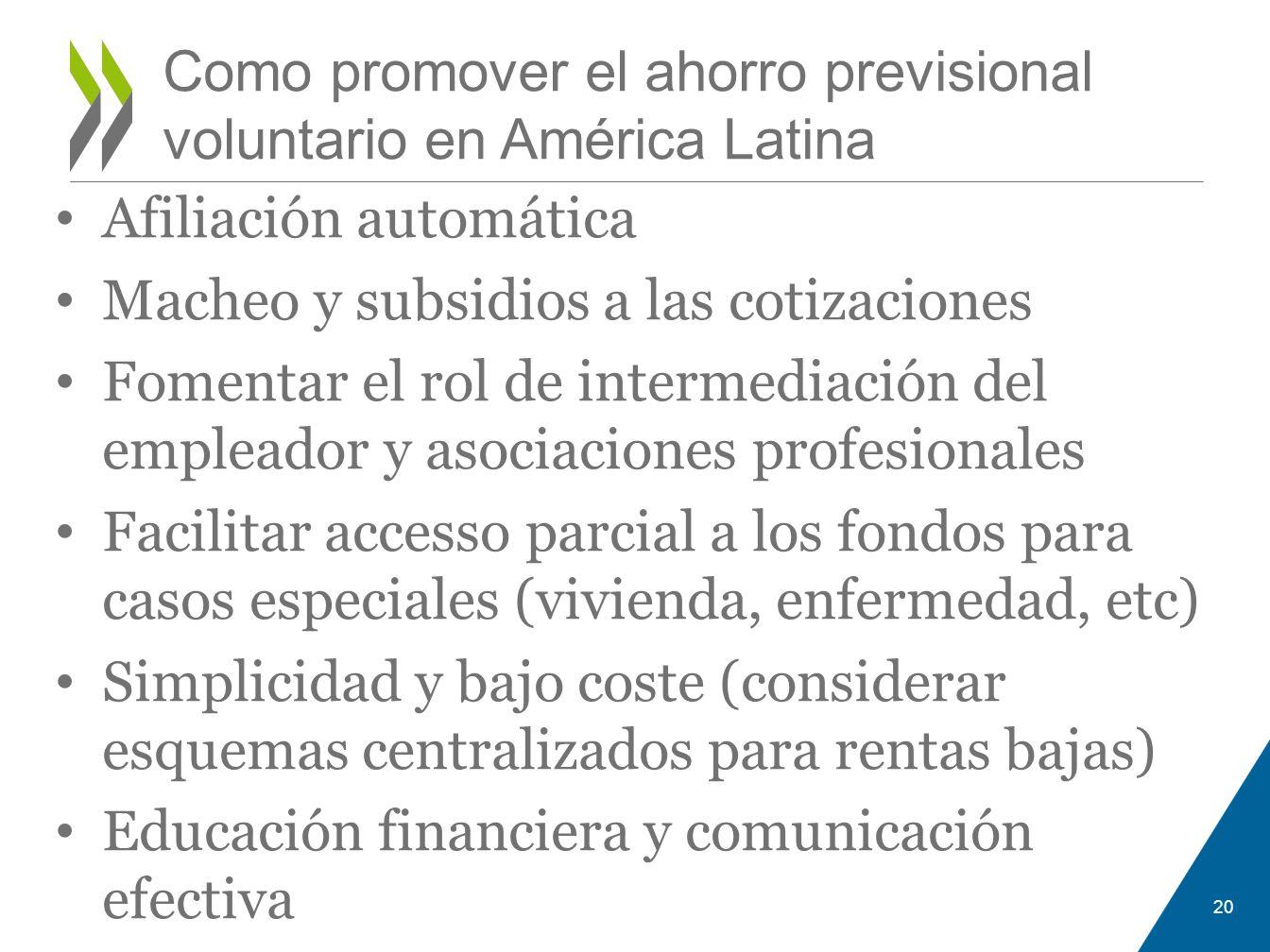 Afiliación automática Macheo y subsidios a las cotizaciones Fomentar el rol de intermediación del empleador y asociaciones profesionales Facilitar acc