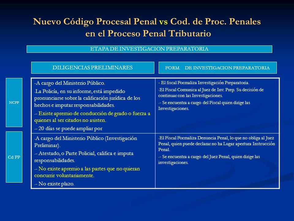 Nuevo Código Procesal Penal vs Cod. de Proc. Penales en el Proceso Penal Tributario ETAPA DE INVESTIGACION PREPARATORIA DILIGENCIAS PRELIMINARES NCPP