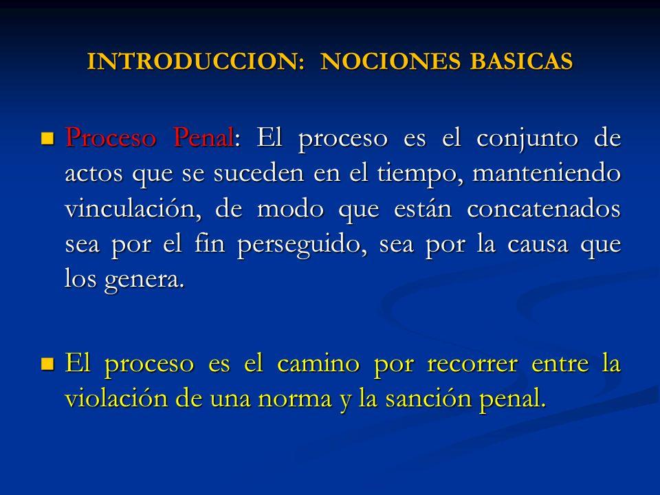 INTRODUCCION: NOCIONES BASICAS Proceso Penal: El proceso es el conjunto de actos que se suceden en el tiempo, manteniendo vinculación, de modo que est