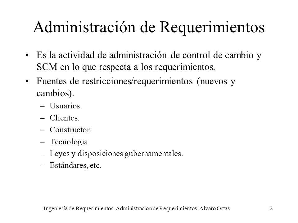 Ingeniería de Requerimientos. Administracion de Requerimientos. Alvaro Ortas.2 Administración de Requerimientos Es la actividad de administración de c