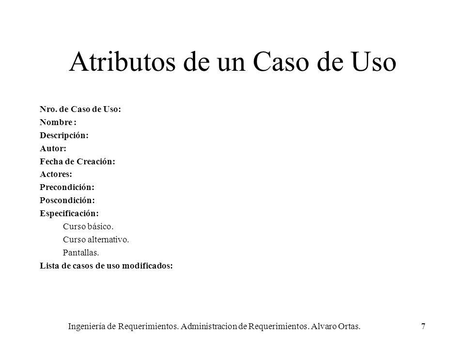 Ingeniería de Requerimientos. Administracion de Requerimientos. Alvaro Ortas.7 Atributos de un Caso de Uso Nro. de Caso de Uso: Nombre : Descripción: