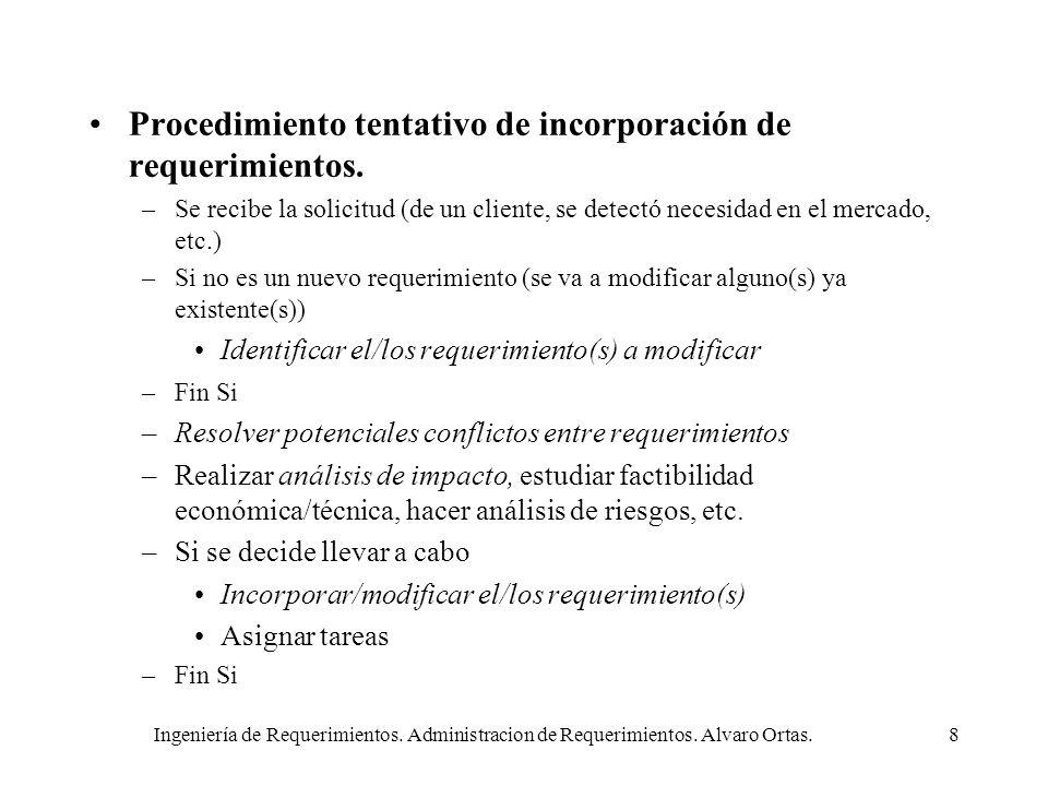Ingeniería de Requerimientos. Administracion de Requerimientos. Alvaro Ortas.8 Procedimiento tentativo de incorporación de requerimientos. –Se recibe