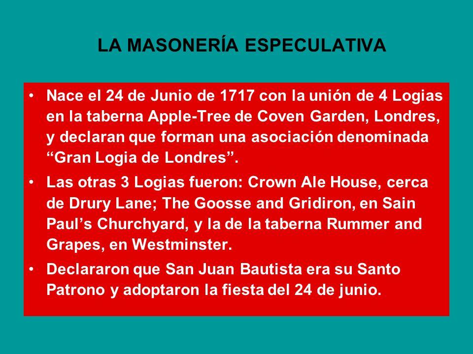 ANTECEDENTES LA GRAN LOGIA DE LONDRES EN 1717. LA GRAN LOGIA DE INGLATERRA EN 1723. LA ESCISIÓN DE 1725 Y LA GRAN LOGIA DE YORK: LOS ANTIGUOS Y LOS MO