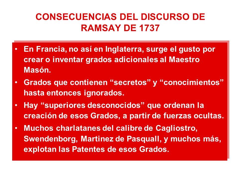 CONSECUENCIAS DEL DISCURSO DE RAMSAY DE 1737 En Francia, no así en Inglaterra, surge el gusto por crear o inventar grados adicionales al Maestro Masón.