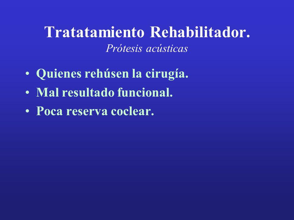 Tratatamiento Rehabilitador. Prótesis acústicas Quienes rehúsen la cirugía. Mal resultado funcional. Poca reserva coclear.