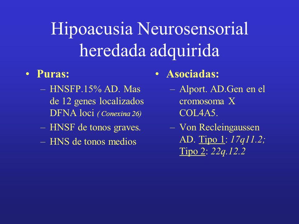 Hipoacusia Neurosensorial heredada adquirida Puras: –HNSFP.15% AD. Mas de 12 genes localizados DFNA loci ( Conexina 26) –HNSF de tonos graves. –HNS de