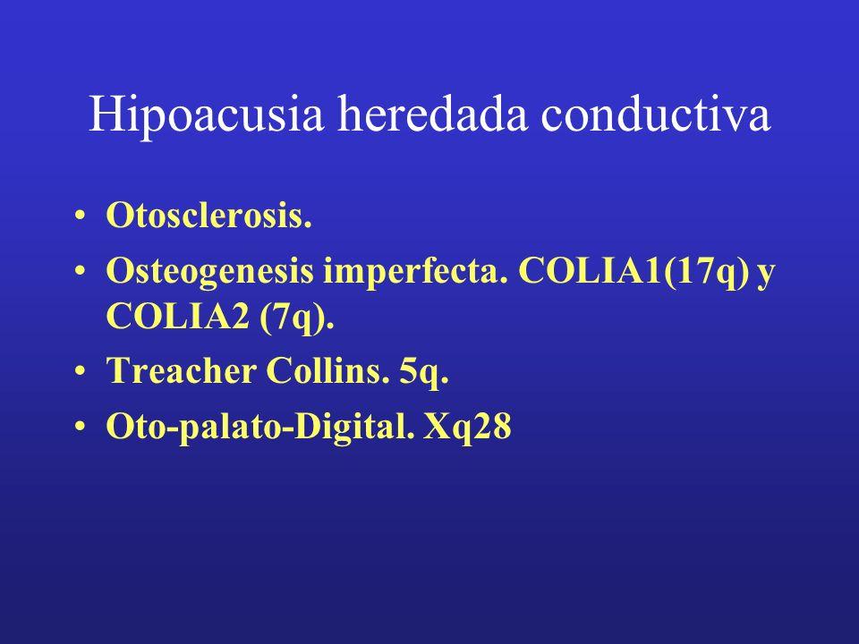 Hipoacusia heredada conductiva Otosclerosis. Osteogenesis imperfecta. COLIA1(17q) y COLIA2 (7q). Treacher Collins. 5q. Oto-palato-Digital. Xq28