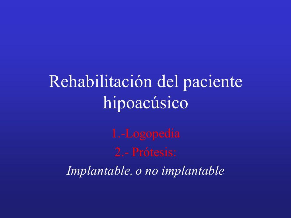 Rehabilitación del paciente hipoacúsico 1.-Logopedia 2.- Prótesis: Implantable, o no implantable