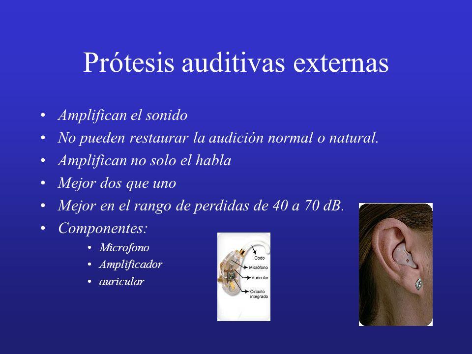 Prótesis auditivas externas Amplifican el sonido No pueden restaurar la audición normal o natural. Amplifican no solo el habla Mejor dos que uno Mejor