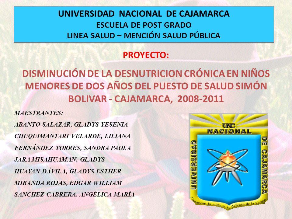 UNIVERSIDAD NACIONAL DE CAJAMARCA ESCUELA DE POST GRADO LINEA SALUD – MENCIÓN SALUD PÚBLICA UNIVERSIDAD NACIONAL DE CAJAMARCA ESCUELA DE POST GRADO LI