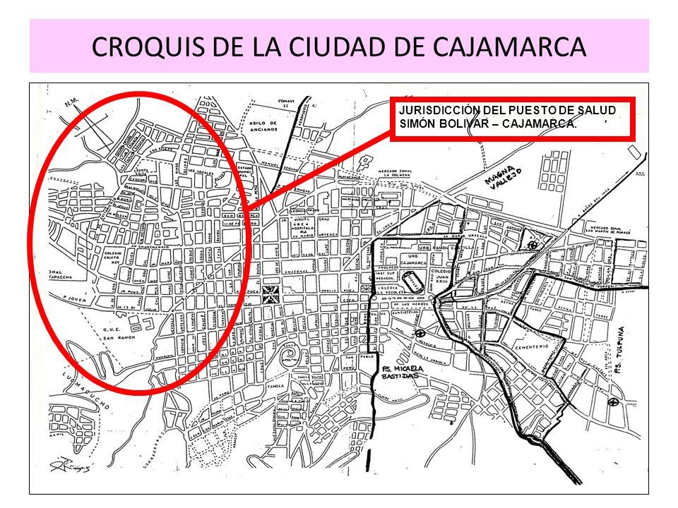 CROQUIS DE LA CIUDAD DE CAJAMARCA JURISDICCIÓN DEL PUESTO DE SALUD SIMÓN BOLIVAR – CAJAMARCA.