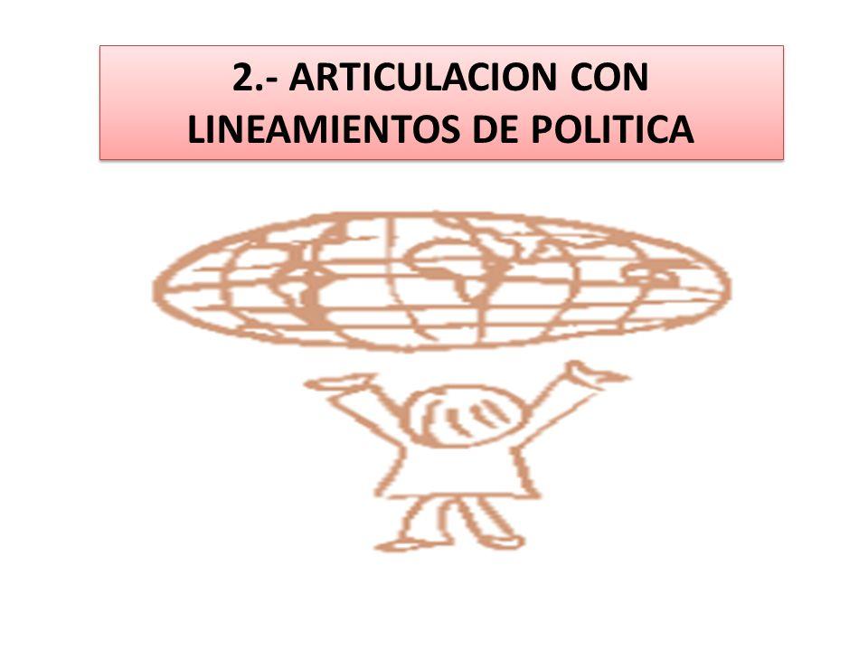 2.- ARTICULACION CON LINEAMIENTOS DE POLITICA
