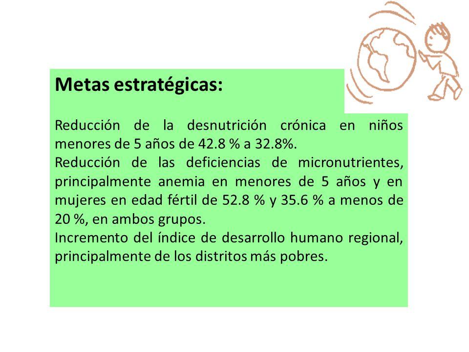 Metas estratégicas: Reducción de la desnutrición crónica en niños menores de 5 años de 42.8 % a 32.8%. Reducción de las deficiencias de micronutriente