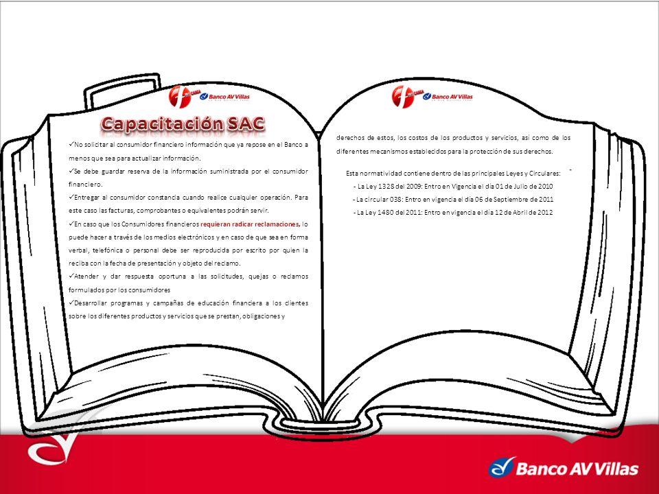 No solicitar al consumidor financiero información que ya repose en el Banco a menos que sea para actualizar información.