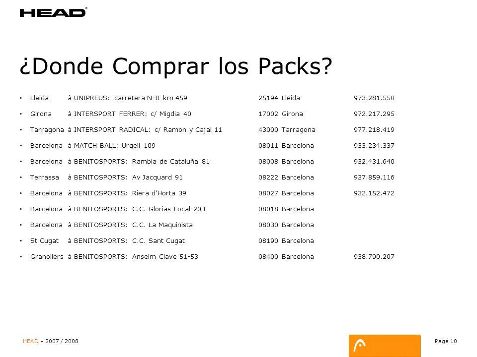 Page 10 HEAD – 2007 / 2008 ¿Donde Comprar los Packs.