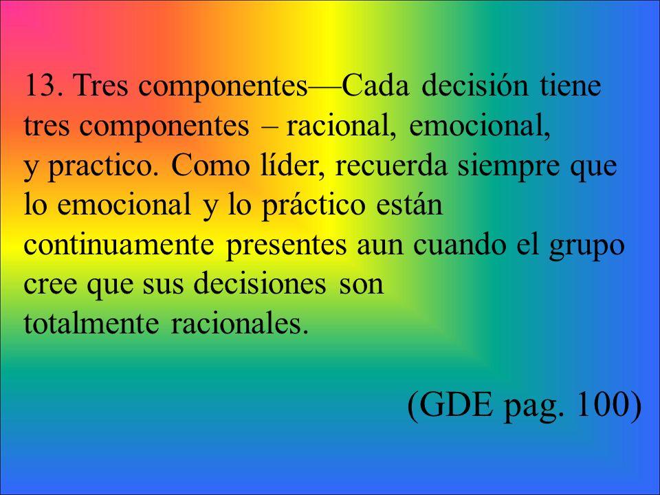 13. Tres componentesCada decisión tiene tres componentes – racional, emocional, y practico.