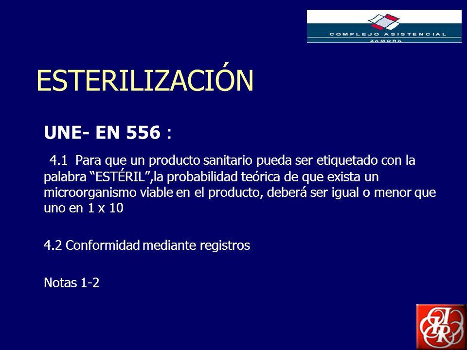 Inserte aquí el logo de su Empresa ESTERILIZACIÓN UNE- EN 556 : 4.1 Para que un producto sanitario pueda ser etiquetado con la palabra ESTÉRIL,la prob