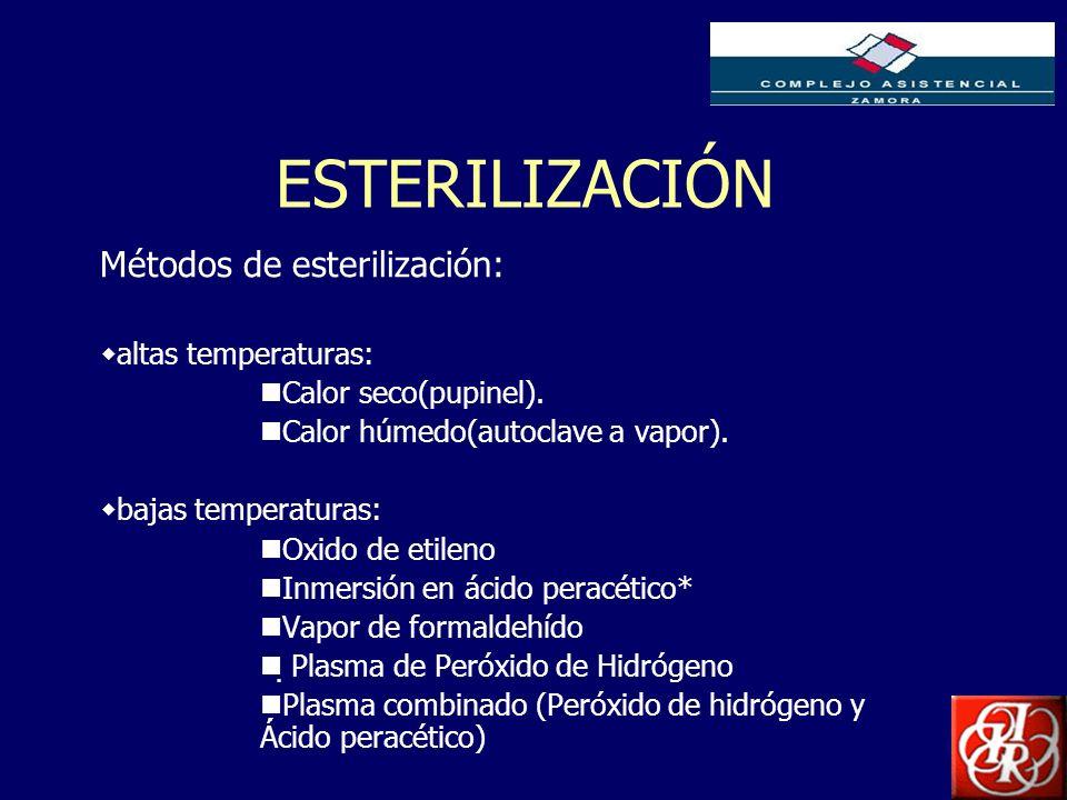 Inserte aquí el logo de su Empresa ESTERILIZACIÓN Métodos de esterilización: altas temperaturas: Calor seco(pupinel). Calor húmedo(autoclave a vapor).