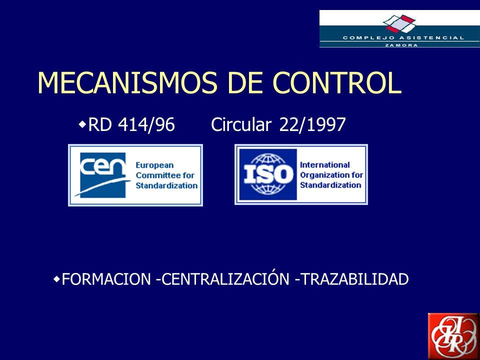 Inserte aquí el logo de su Empresa MECANISMOS DE CONTROL FORMACION -CENTRALIZACIÓN -TRAZABILIDAD RD 414/96 Circular 22/1997