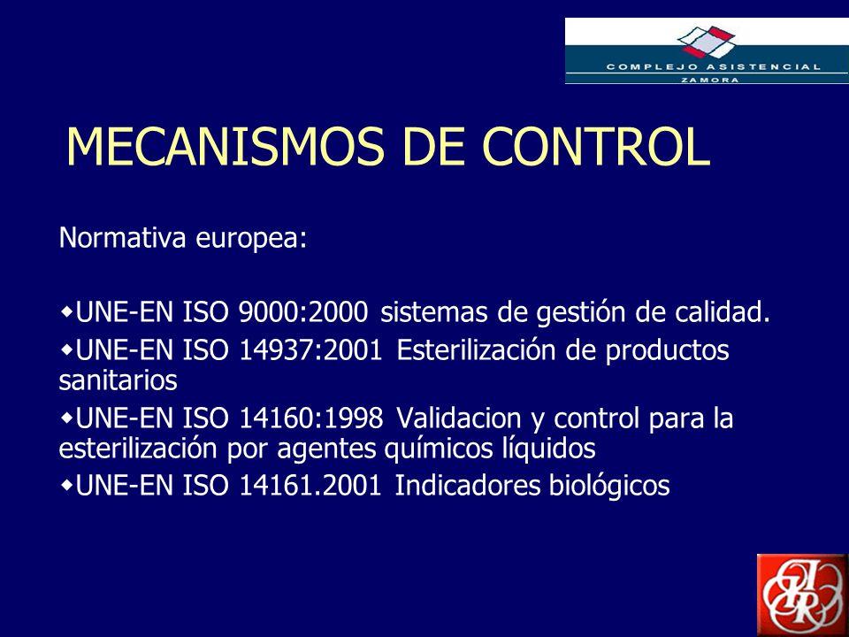Inserte aquí el logo de su Empresa MECANISMOS DE CONTROL Normativa europea: UNE-EN ISO 9000:2000 sistemas de gestión de calidad. UNE-EN ISO 14937:2001