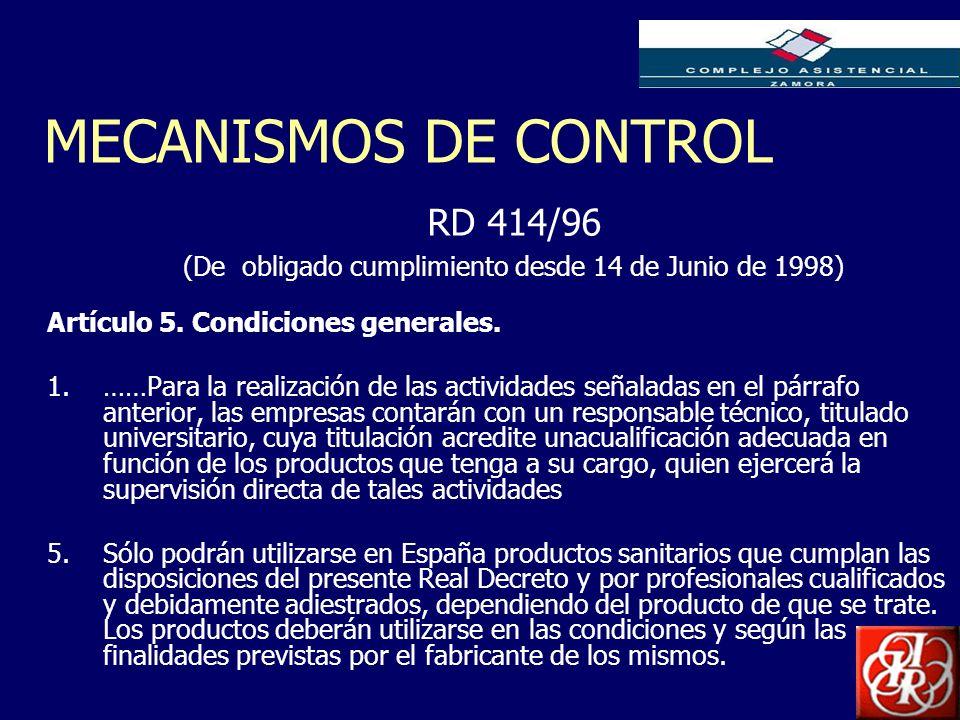 Inserte aquí el logo de su Empresa MECANISMOS DE CONTROL Artículo 5. Condiciones generales. 1.……Para la realización de las actividades señaladas en el