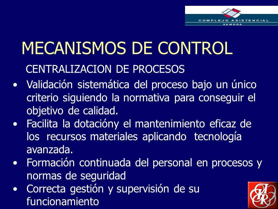 Inserte aquí el logo de su Empresa MECANISMOS DE CONTROL CENTRALIZACION DE PROCESOS Validación sistemática del proceso bajo un único criterio siguiend