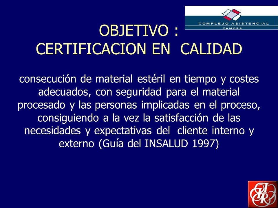 Inserte aquí el logo de su Empresa OBJETIVO : CERTIFICACION EN CALIDAD consecución de material estéril en tiempo y costes adecuados, con seguridad par