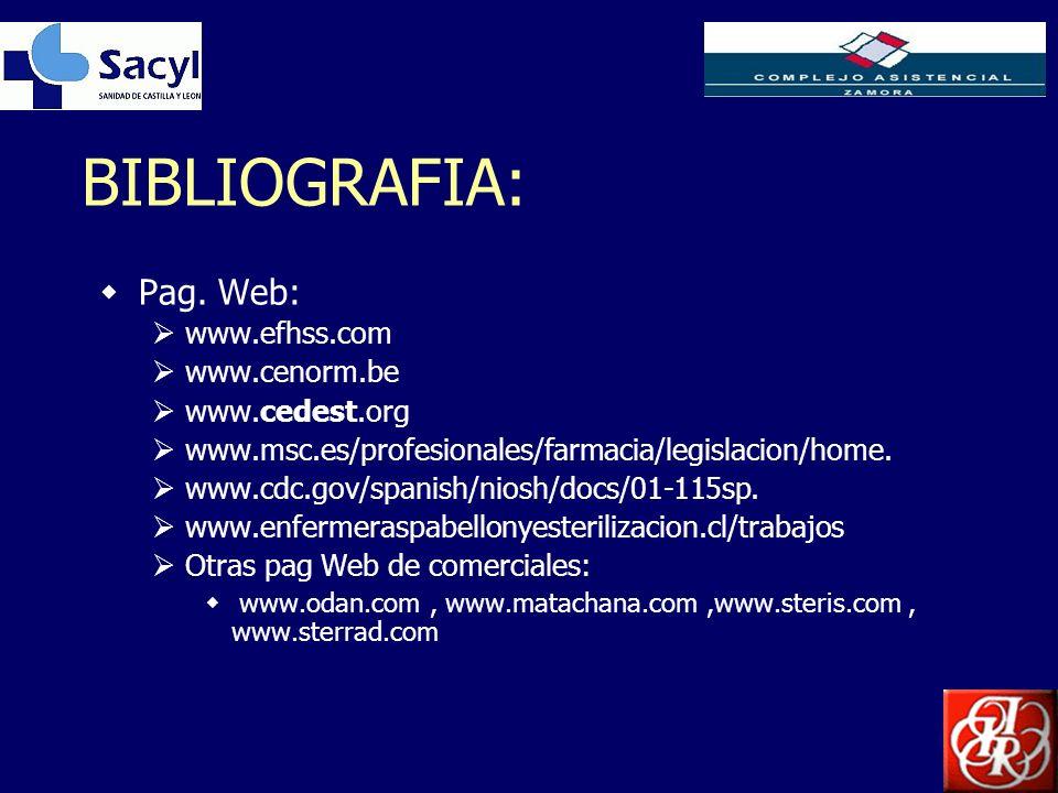 Inserte aquí el logo de su Empresa BIBLIOGRAFIA: Pag. Web: www.efhss.com www.cenorm.be www.cedest.org www.msc.es/profesionales/farmacia/legislacion/ho