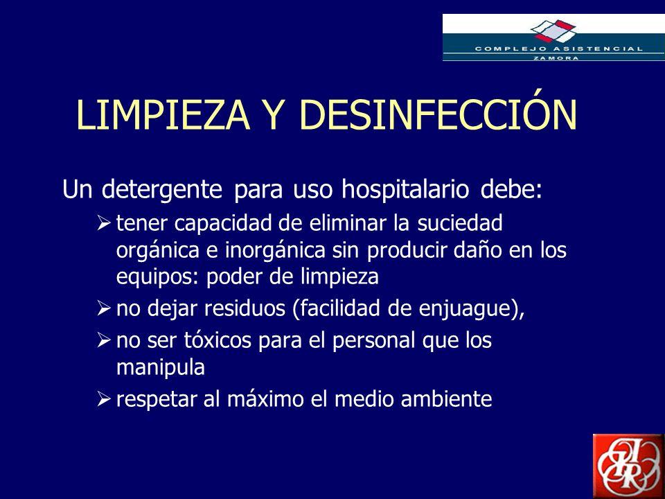 Inserte aquí el logo de su Empresa LIMPIEZA Y DESINFECCIÓN Un detergente para uso hospitalario debe: tener capacidad de eliminar la suciedad orgánica